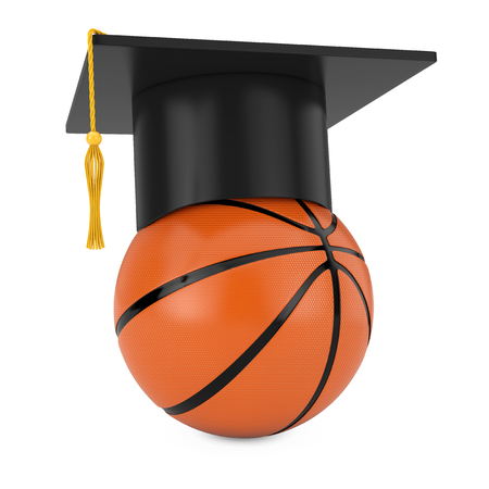 Graduation Academic Cap over Orange Basketball Ball on a white background. 3d Rendering