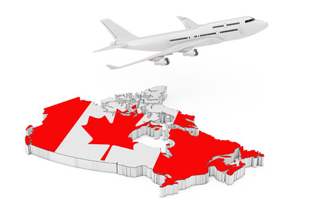 White Jet Passenger's Airplane Flying Over Canada Map with Flag on a white background. 3d Rendering