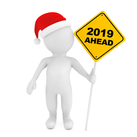 3d Person with 2019 Ahead Traffic Sign on a white background. 3d Rendering