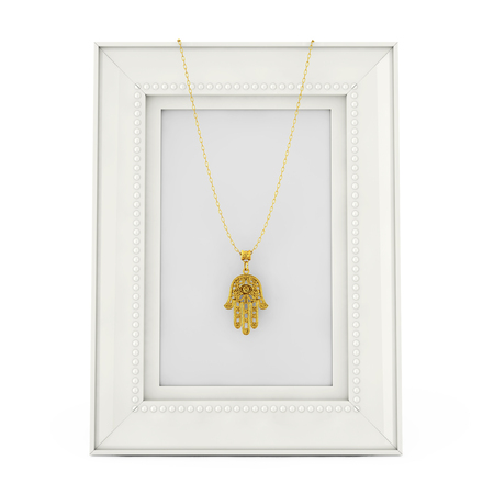 Golden Hamsa, Hand of Fatima Amulet Coulomb over Empty Photo Frame on a white background. 3d Rendering Banque d'images - 109474541