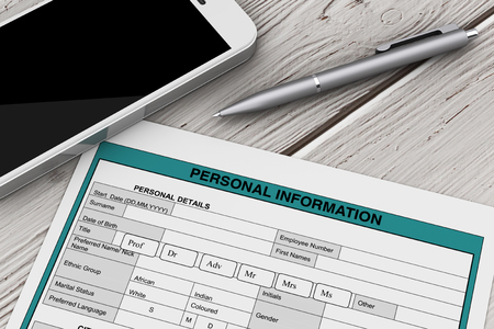 Personal Information Form near Mobile Phone and Pen extreme closeup. 3d Rendering
