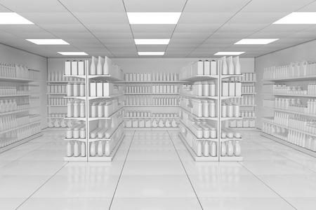 Market Shelving Rack with Blank Products or Goods in Clay Style as Supermarket Interior extreme closeup. 3d Rendering.