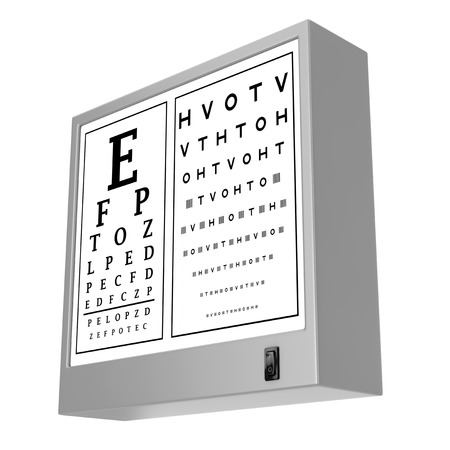 Snellen Eye Chart Test Light Box on a white background. 3d Rendering 写真素材