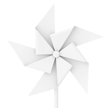 White Clay Style Pinwheel Toy on a white background. 3d Rendering Reklamní fotografie - 109474636