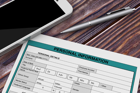 Personal Information Form near Mobile Phone and Pen extreme closeup. 3d Rendering 写真素材 - 109474790