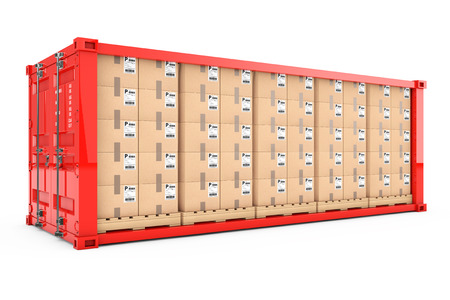 Rows of Cardboard Boxes on Wooden Palettes in Red Shipping Container with Removed Side Wall on a white background. 3d Rendering.