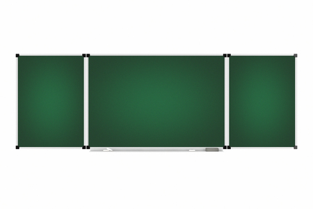 Green Blank Three Parts Chalkboard or Blackboard with Free Space for Your Design on a white background. 3d Rendering.