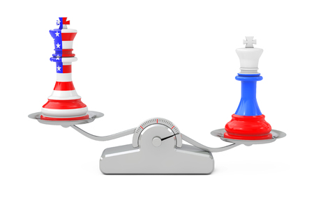 US America and Russia Kings Chess over Simple Balance Scale on a white background. 3d Rendering Stok Fotoğraf - 115371523