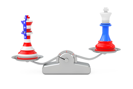 US America and Russia Kings Chess over Simple Balance Scale on a white background. 3d Rendering Stok Fotoğraf - 115371322