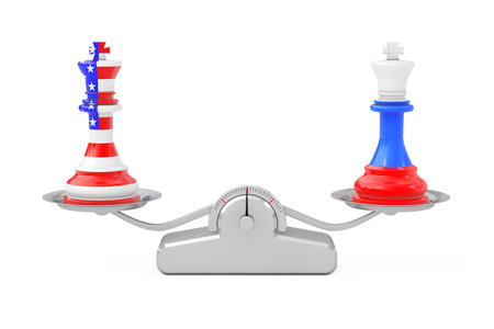 US America and Russia Kings Chess over Simple Balance Scale on a white background. 3d Rendering Banque d'images - 115371534