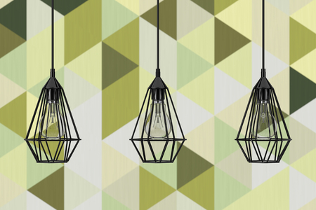 Vintage Lighting Decor Ceiling Lamps in front of Olive Green Geometric Tiles wall. 3d Rendering