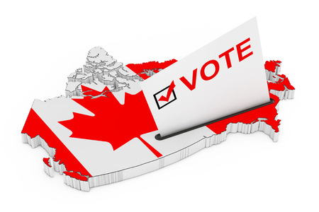 Voting in Canada Concept. Voting Card Half Inserted in Ballot Box in Shape of Canada Map with Flag on a white background. 3d Rendering