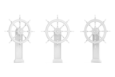 Vintage White Ship Steering Wheel with Stand in Clay Style on a white background. 3d Rendering