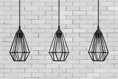 Vintage Lighting Decor Ceiling Lamps in front of brick wall. 3d Rendering