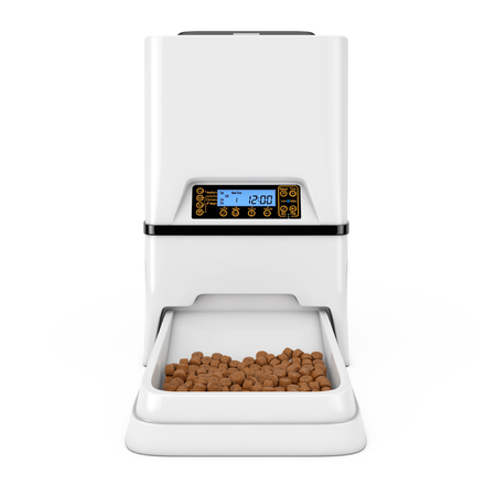 Automatic Electronic Digital Pet Dry Food Storage Meal Feeder Dispenser on a white background. 3d Rendering
