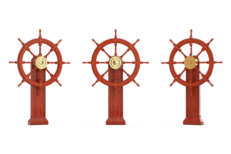 Vintage Wooden Ship Steering Wheel with Stand on a white background. 3d Rendering Stock Photo