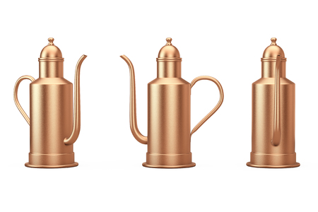 Rare Antique Brass Cooper Teapot on a white background. 3d Rendering