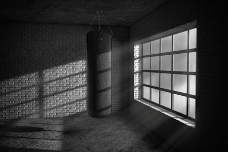 Black Leather Punching Bag in Dark Boxing Room extreme closeup. 3d Rendering