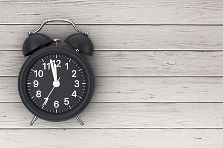 Black Alarm Clock near Free Space for Your Design on a wooden table. 3d Rendering