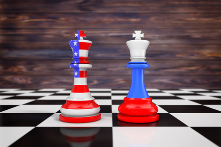 US America and Russia flags on kings chess over a chess board extreme closeup. 3d Rendering