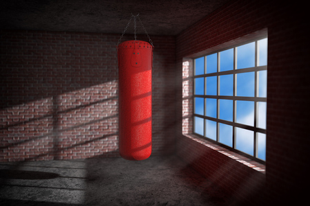 Red leather punching bag in dark boxing room extreme closeup. 3d rendering Stock Photo