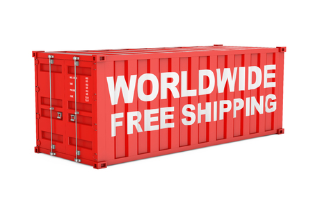 Red Shipping Cargo Container with Worldwide Free Shipping Sign on a white background. 3d Rendering Stock Photo
