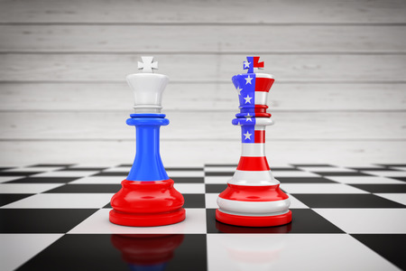 US America and Russia Flags on Kings Chess over a Chess Board extreme closeup. 3d Rendering Banque d'images - 115371707