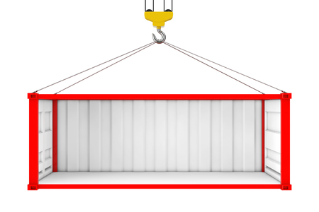 Empty Red Shipping Container with Removed Side Wall During Transportation with Crane Hook on a white background. 3d Rendering Stock Photo