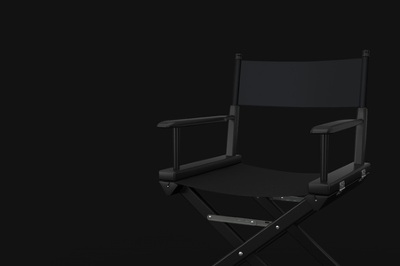Black Cinema Director Chair on a black background. 3d Rendering