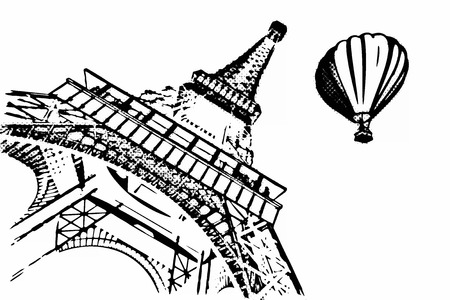 France Concept. Paris Sketches Hand Drawing Style Eiffel Tower and Hot Air Balloon on a yellow background. 3d Rendering
