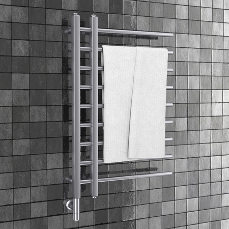 Bathroom Towel Heater Warmer Rail with Towel in front of gray tiles wall. 3d Rendering Stock Photo