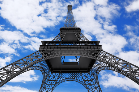 France Concept. Paris Eiffel Tower on a blue sky cloudy background. 3d Rendering