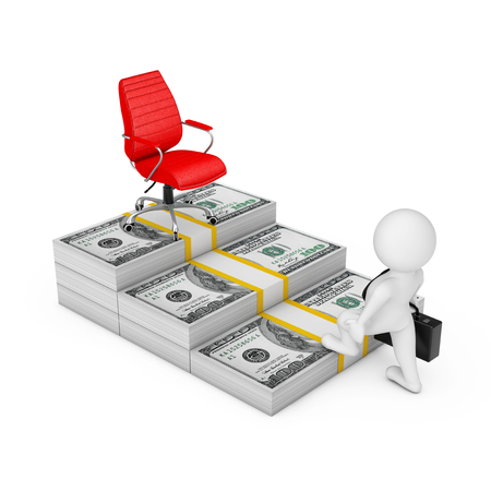 Way to Success Concept. Businessman Climbs the Stairs from the Dollars Money to the Career Red Big Boss Chair on a white background. 3d Rendering