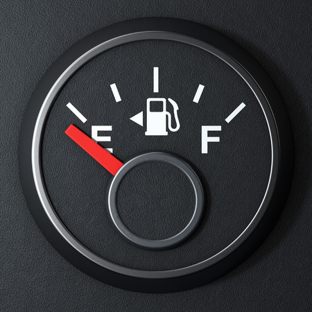 Fuel Dashboard Gauge Showing a Empty Tank on a black background. 3d Rendering