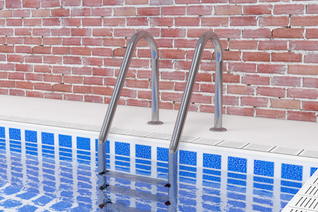 Chrome Swimming Pool Ladder in Swimming Pool in Front of Brick Wall Interior extreme closeup. 3d Rendering