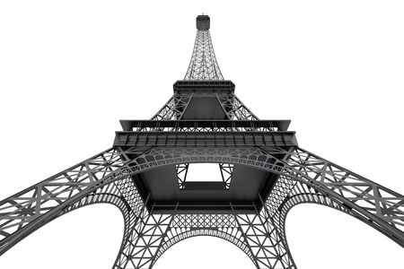 France Concept. Paris Eiffel Tower on a white background. 3d Rendering