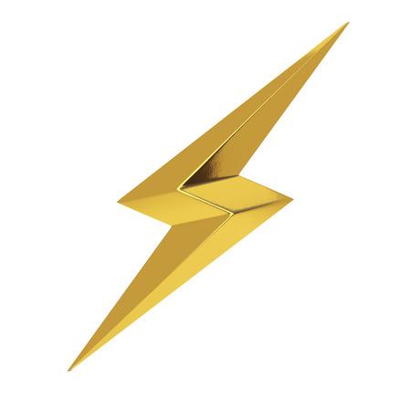 Golden Thunderbolt Lighting Icon on a white background. 3d Rendering Standard-Bild - 116798071