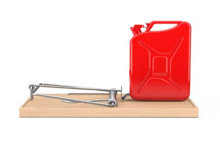 Fake Fuel Concept. Red Metal Jarrycan in Wooden Mousetrap on a white background. 3d Rendering