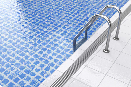 Chrome Swimming Pool Ladder in Swimming Pool Interior extreme closeup. 3d Rendering