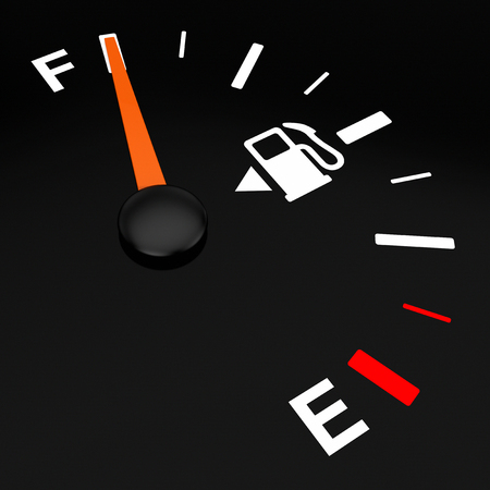 Fuel Dashboard Gauge Showing a Full Tank on a black background. 3d Rendering Reklamní fotografie