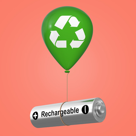 Rechargeable Battery Floating with Green Hellium Balloon with Eco Recycle Sign on a pink background. 3d Rendering Reklamní fotografie