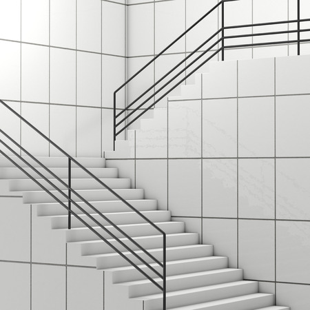 Details of Railing and Stairs of a Modern Building extreme closeup. 3d Rendering Stock fotó