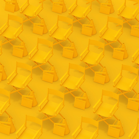 Rows of Yellow Director Chairs with Clapboards and Megaphones on a yellow background. 3d Rendering