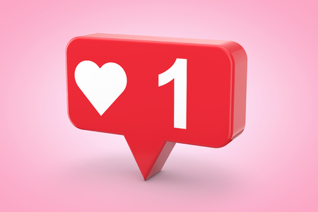 Social Media Network Love and Like Heart Icon on a pink background. 3d Rendering