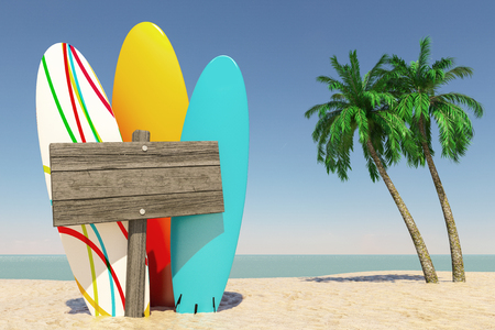 Tourism and Travel Concept. Colorful Summer Surfboards with Blank Wooden Direction Signbard in Tropical Paradise Beach with White Sand and Coconut Palm Trees on a Blue Sky Background. 3d Rendering