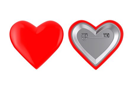 Red Heart Pin Badges on a white background. 3d Rendering