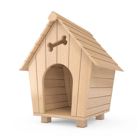 Wooden Cartoon Dog House on a white background. 3d Rendering Foto de archivo