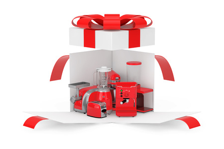 Kitchen Appliances Gift. Red Blender, Toaster, Coffee Machine, Meat Ginder, Food Mixer and Coffee Grinder in Opened Surprise White Gift Box with Red Ribbon and Bow on a white background. 3d Rendering Stok Fotoğraf