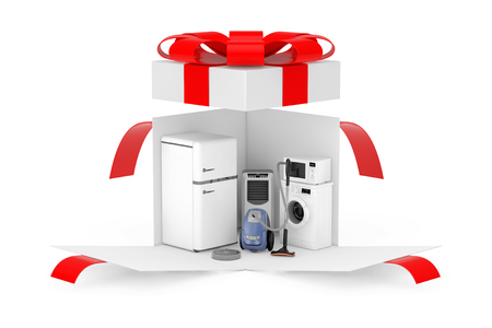 Household Appliances Gift. Household Appliances Set in Opened Surprise White Gift Box with Red Ribbon and Bow on a white background. 3d Rendering Standard-Bild - 117986393