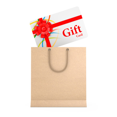 Gift Card with Red Ribbon and Bow Falling in to Paper Bag on a white background. 3d Rendering